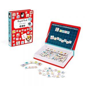 Libro con imanes de letras del alfabeto para formas palabras