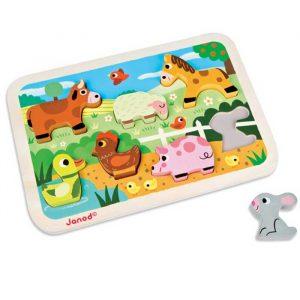 Puzzle de encajar piezas animales de la granja