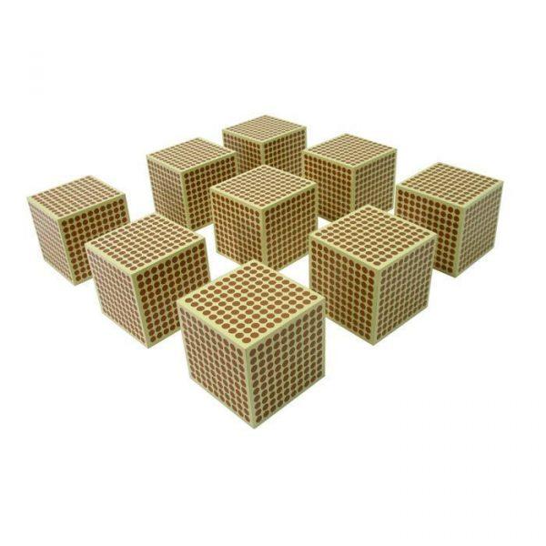 Cubos de 1000 Montessori, 9 unidades