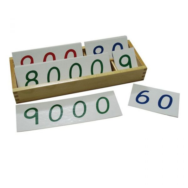 Números largos de papel Montessori del 1 al 9000 grandes