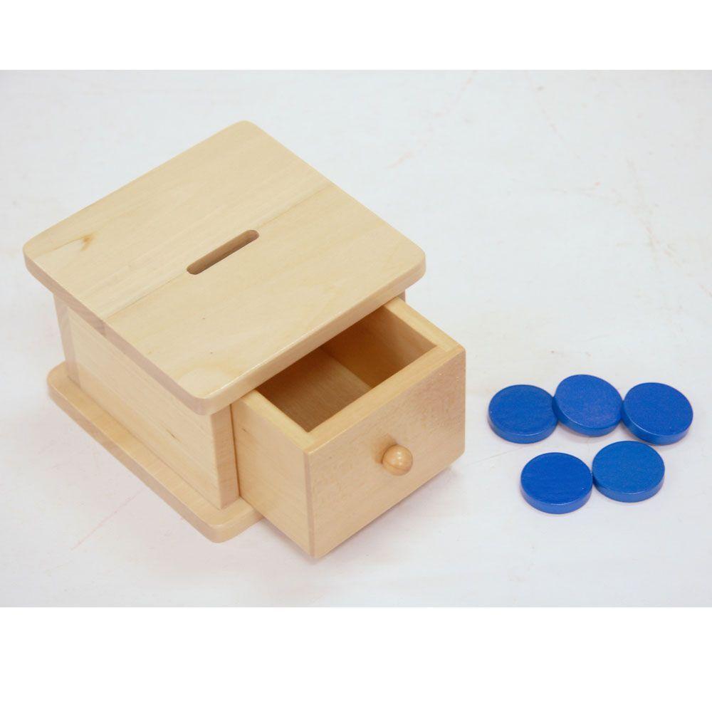 Hucha de madera con cajón Montessori