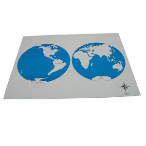 Mapa de Continentes de control con nombres Montessori