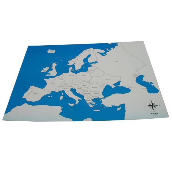 Mapa de Europa de control con nombres Montessori
