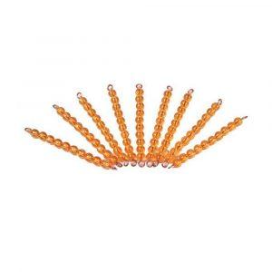 Set de 9 barras de 10 perlas doradas Montessori