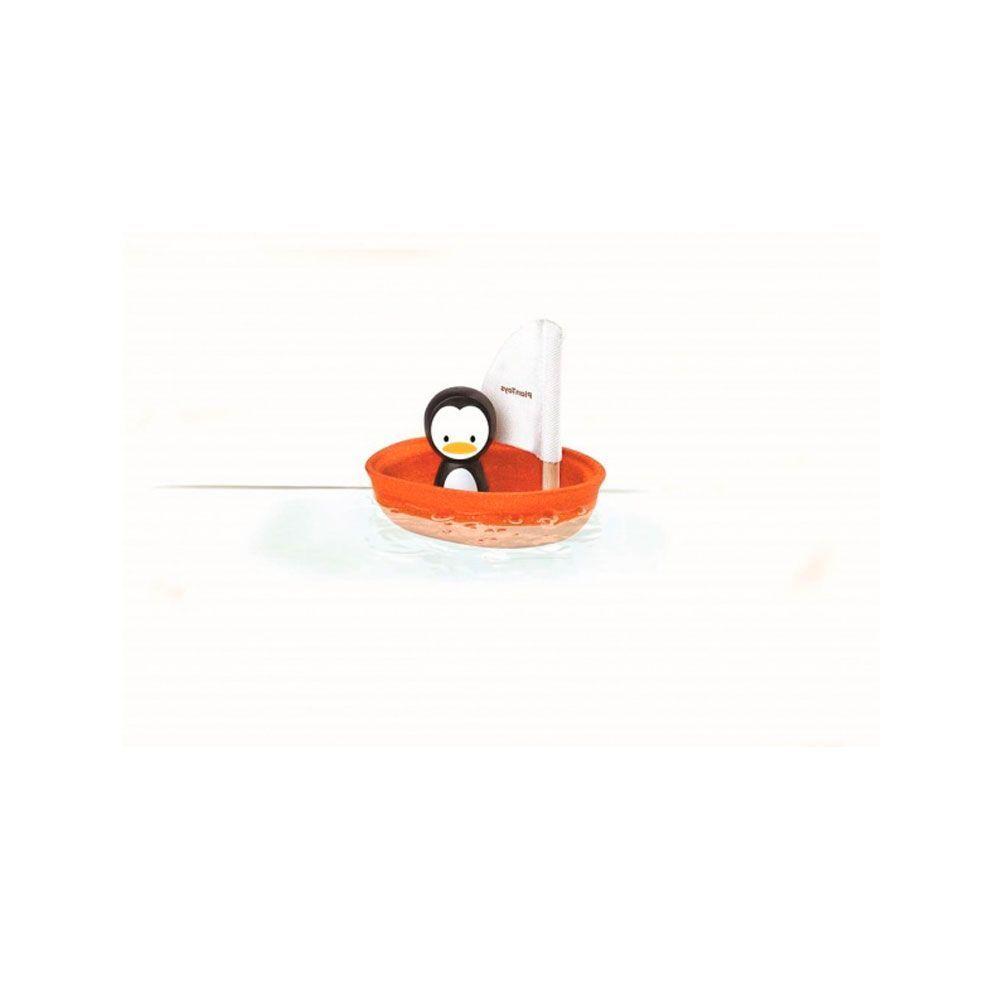 Barco de madera pinguino