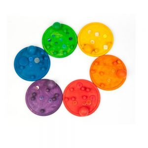 6 bases de madera arcoíris