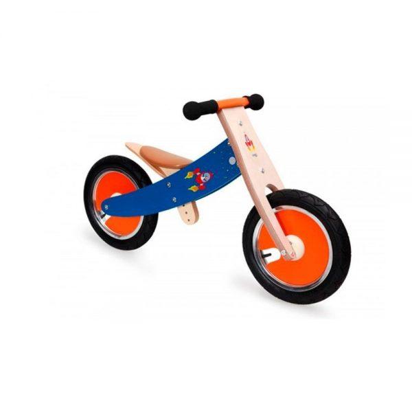 Bicicleta sin pedales azul espacio