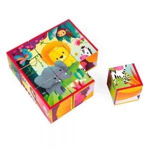 Puzzle de cubos de animales de la selva, hay 6 diferentes uno por cada lado del cubo