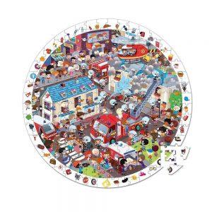 Maletín con un puzzle de observación redondo con la temática de la ciudad