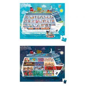 Maletín con dos puzzles de un barco de día y de noche