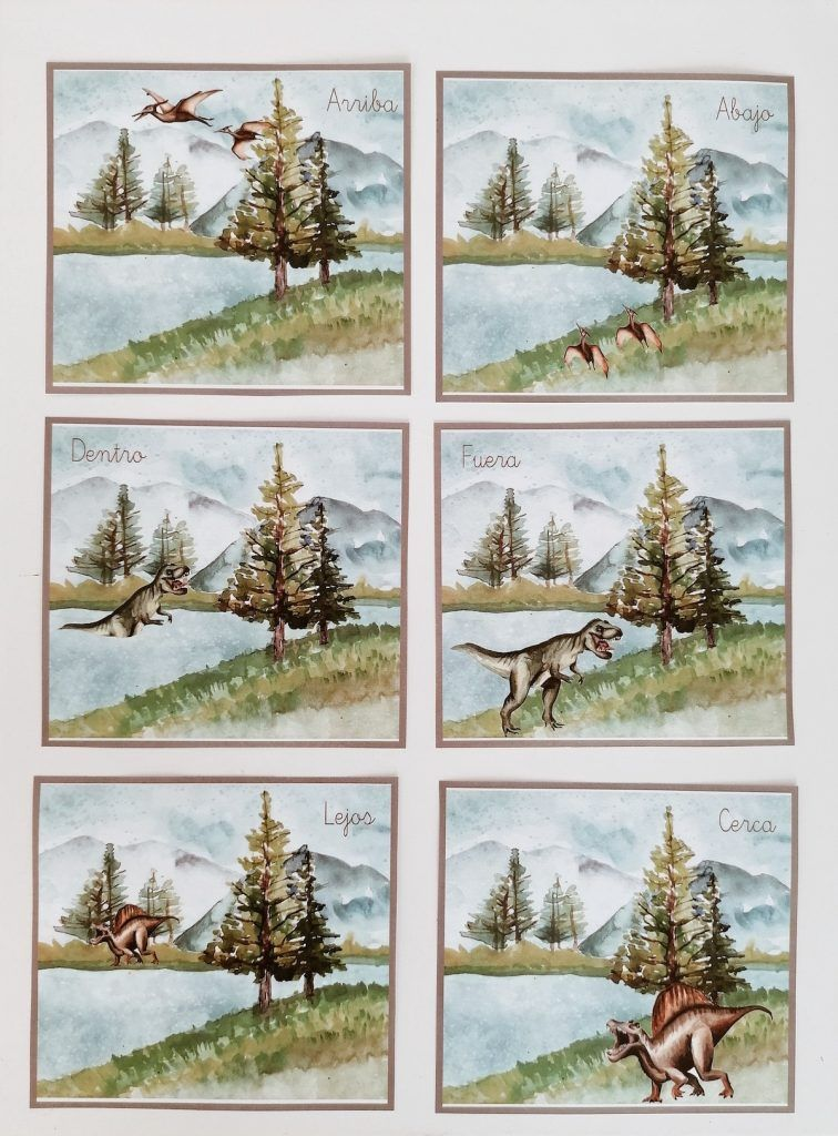 dinosaurios - tarjetas de posición